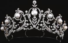 Antique Tiara (ca. 1900; natural pearls, diamonds).