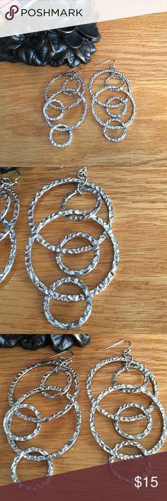 Lia Sophia earrings Long earrings by Lia Sophia.  Have a pounded look to the rhodium.  Worn lightly. Lia Sophia Jewelry Earrings