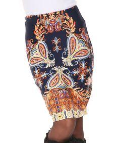 Look at this #zulilyfind! White Mark Navy & Gold Paisley Barbara Skirt by White Mark #zulilyfinds