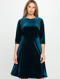 Velvet Embroidered Dress Silken Pine