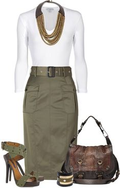 LOLO Moda: Fashionable Pretty Style except the purse .not my style Komplette Outfits, Classy Outfits, Skirt Outfits, Casual Outfits, Fashion Outfits, Womens Fashion, Fashion Ideas, Stylish Work Outfits, Workwear Fashion