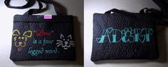 "Commissioned Work – Quilted / Embroidered 8″ x 10.75″ Broadcloth Zippered ""Four Legged Word"" Shoulder Purse or Tablet & eBook (Kindle, Nook, etc.) Reader Case (padded cases, bags & purses)"