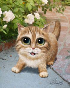 Arte de gato inspirado por Margaret Keane por SarahSpringStudio
