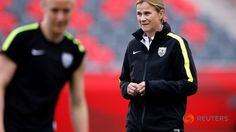Jun 25, 2015; Ottawa, Ontario, CAN; United States head coach Jill Ellis watches her team during a training session for the 2015 Women's World Cup at Lansdowne Stadium. PHOTO: Reuters/ Michael Chow-USA TODAY Sports ▼26Jun2015ChannelNewsAsia|Pressure on Americans ahead of China test http://www.channelnewsasia.com/news/sport/pressure-on-americans-ahe/1941620.html #2015_FIFA_Womens_World_Cup #United_States_womens_national_soccer_team #Jill_Ellis