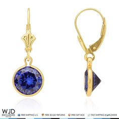 The intense blue color shines brightly as the round sapphire gemstone is cradled in bezel setting. These cute dangle earrings are crafted in 14K solid yellow gold and secured with lever backs.Sapphire is a September birthstone which makes it great gift for Virgo and Libra zodiac signs. Product ...