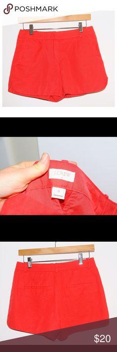 "❤️ J. Crew Red Short Shorts Cotton Linen Size 0! ❤️ J. Crew Red Short Shorts Cotton Linen Size 0! 28"" waist, 3"" inseam! Ruffle pocket detail. Good condition! Cc box B J. Crew Shorts"