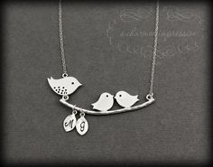 Mom and 2 Baby Birds Necklace . Sterling Silver Mom Necklace . Initial Personalized Mother's Necklace . Mom of Twins Jewelry . Grandma Gift. $36.00, via Etsy.