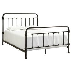 Bring antiqued style to your master suite or guest room with this charming metal bed, featuring turned detailing and a bronzed black finish.