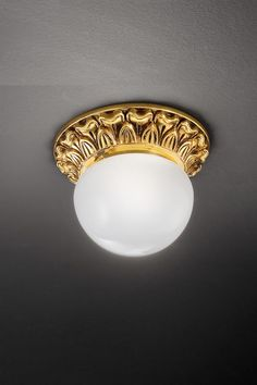 Classic ceiling lamp in golden brass with floral engravings and white opaque glass ball - Murano glass and crystal - Available on Vraiment Beau - We deliver worldwide - Référence: 20020116 Gold Ceiling Light, Ceiling Lamp, Classic Gold, Classic Style, Classic Ceiling, Classic Lighting, Wall Lights, Ceiling Lights, Style Classique