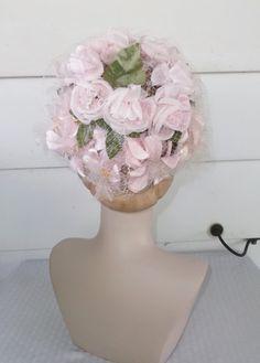 1960s Vintage Pink Rose and Netting Hat by MyVintageHatShop