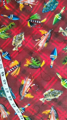 Fishing flannel fabric lures fly flies fish fisherman quilting cotton quilt print quilters material sewing project BTY crafting by the yard #fishinglure, #fish, #fisherman, #Plaid, #flannel, #fabric, #quilt, #sewing, #etsy - pinned by pin4etsy.com
