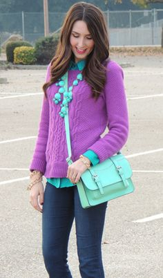 Purple cable knit sweater, jeans, teal dress shirt, and aqua bubble necklace. like the color combo