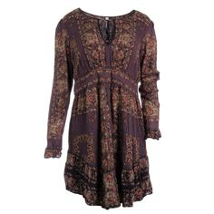 FREE PEOPLE 3353 NEW Womens Black Floral Print Long Sleeves Casual Dress XS BHFO #FreePeople #CasualDress #Casual