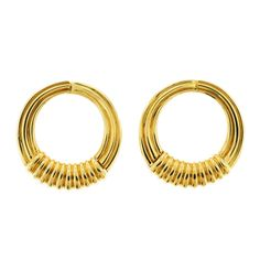 1988 Van Cleef & Arpels Gold Hoop Earclips | From a unique collection of vintage clip-on earrings at http://www.1stdibs.com/jewelry/earrings/clip-on-earrings/