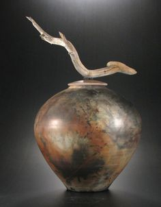 "*Ceramic Vessel - ""Ascending Antler by Brenda McMahon (Raku-Saggar Fired) Ceramic Jars, Ceramic Tableware, Ceramic Decor, Ceramic Clay, Porcelain Ceramics, Kintsugi, Vases, Burial Urns, Raku Pottery"