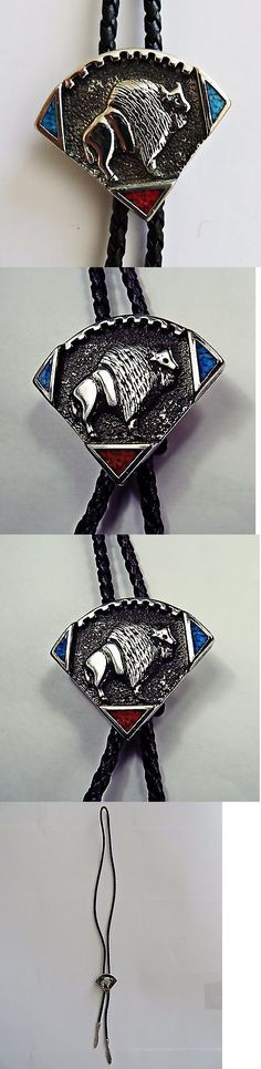 Bolo Ties 10292: Bolo Tie Sarah Chee Novajo Buffalo Bison Coral Turquoise Silver Leather Western -> BUY IT NOW ONLY: $298.99 on eBay!