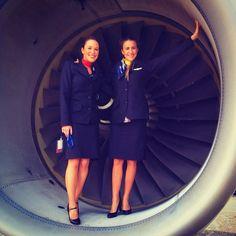 Air Transat air hostesses pose in the intake of an A330 Photo by Marie-Pierre Desjardins @mariepierred Instagram photo | Websta (Webstagram)