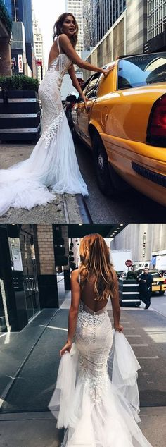 Backless Wedding Dresses, Sexy Wedding Dresses, Long Train Wedding Dresses, Wedding Dresses Cheap, Long Wedding Dresses, Wedding dresses Train, Cheap Wedding Dresses, Long White dresses, Sexy White Dresses, Sweep Train Wedding Dresses, White Sweep Train Wedding Dresses, Sweep Train Long Wedding Dresses, Sexy Chic Wedding Dresses Straps Appliques Sweep/Brush Train Backless Bridal Gown