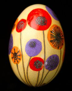 Contemporary Floral Pysanky Russian Ukrainian Easter Egg Batik Folk Art