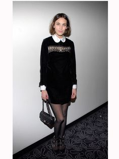 Alexa is a massive fan of the 60s because it works perfectly her straight up-and-down shape and claims that Jane Birkin is her style icon. We love her trademark shift dress and Peter Pan collar look   - Cosmopolitan.co.uk