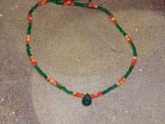 Green Aventurine and Red Limestone Necklace by OceanGypsyJewelry