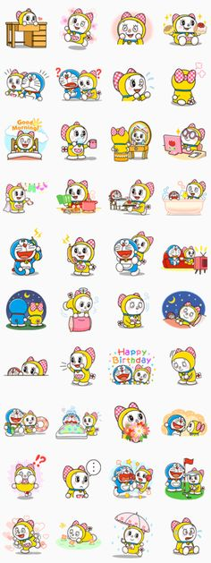 Stickers featuring Doraemon& cute and charming little sister, Dorami! Catch her in all kinds of girly situations - Look! She& playing with Doraemon too! Emoji Stickers, Printable Stickers, Cute Stickers, Doraemon Wallpapers, Cute Cartoon Wallpapers, Anime Fnaf, Anime Manga, Emoji Gratis, Astro Boy