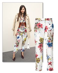 GET THE LOOK: Doina Ciobanu in Erdem floral trousers and a Burberry trench.