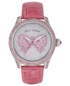 Betsey Johnson Watch, Women's Breast Cancer Awareness Pink Leather Strap 41mm BJ00019-38 - All Watches - Jewelry & Watches - Macy's