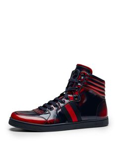 Coda Burnished High-Top Sneaker, Red/Blue  by Gucci at Neiman Marcus.
