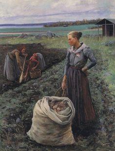Elin Kleopatra Danielson-Gambogi (Finnish painter) 1861 - 1919 Perunannostajat (Potato Harversters), 1893