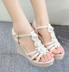 Perfect Flower PU Wedge Sandals From The Plus Size Fashion Community At www.VintageAndCurvy.com