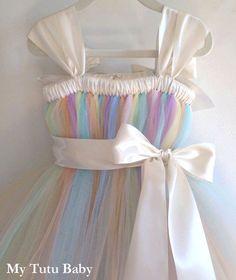 Pastel Rainbow Tutu Dress Birthday Flower Girl by MyTutuBaby