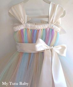 Pastel Rainbow Tutu Dress Birthday Flower Girl by MyTutuBaby