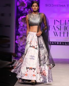 Silver and White Digitally Print Lengha Suit