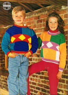 """childrens multi coloured shapes sweater knitting pattern pdf download childrens cotton jumper 24-32"""" cotton DK light worsted 8 ply by Minihobo on Etsy"""