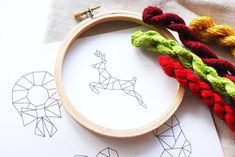 Embrace the geometric trend this holiday season with six free embroidery patterns. Stitch a stocking, tree, wreath, mitten, heart and deer.