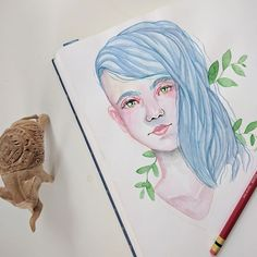 Quick watercolor sketch continuing to practice faces and style. . . #art #sketch #watercolor #painting #sketchbook #artistsoninstagram #arte #arts #artsy #artoftheday #gouche #plants #bluehair #nature #color #paints
