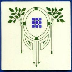 Jugendstil Fliese Kachel, Art Nouveau Tile, Tegel, OFFSTEIN, Ornament floral
