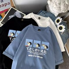 100% Brand New and High Quality  Material: Polyester, Cotton  Size:  As Shown On Size Chart Aesthetic T Shirts, Aesthetic Clothes, Kawaii Korean, Korean Fashion Dress, Fashion Outfits, Men's Fashion Brands, Hoodie Jacket, Hoody, Cheap T Shirts