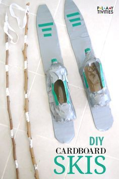 You Can Ski Indoors With Cardboard Skis - awesome idea to recycle cardboard box for indor fun in winter! fun winter You Can Ski Indoors With Cardboard Skis - PLAYTIVITIES