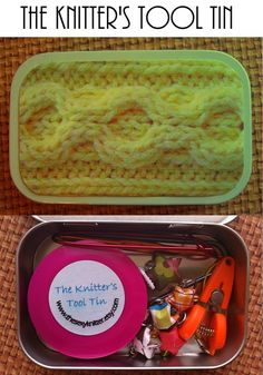 Yellow Cables The Knitter's Tool Altoid Tin for by thesexyknitter, $22.00