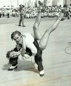 Hepcats James Brennan and Tessie Fekan swing out at the World's Fair jitterbug contest - and win it.