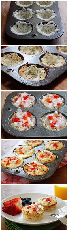 Hash Brown Egg White Nests. This would be so good without the tomatoes and ham