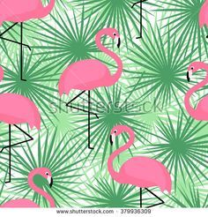 Tropical Trendy Seamless Pattern With Flamingos And Palm Leaves. Stock Vector - Illustration of flamingo, decoration: 68541554 Flamingo Rosa, Flamingo Art, Pink Flamingos, Flamingo Fabric, Flamingo Illustration, Tropical Wallpaper, Tropical Pattern, Art Background, Floral Backround
