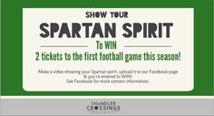 Show your Spartan Spirit & WIN football tickets #MSU #MichiganState #Spartans #EastLansing