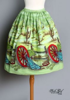 vintage skirt with gypsy caravan print 1950's - Google Search