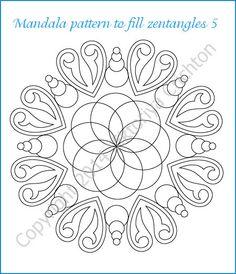 Mandala pattern to fill zentangles, PDF download, hand drawn designs.