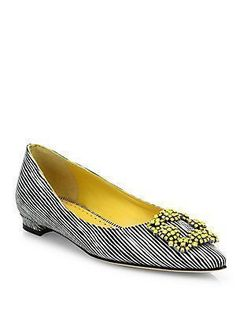 Manolo Blahnik Hangisi Striped Leather Flats #manoloblahnikhangisi  #manoloblahnikflats