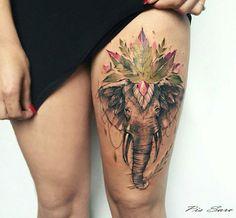 Elefante com adornos. Pissaro tattoo