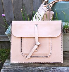 Naked Veg Tanned Leather Clutch style Portfolio by Du4Arts on Etsy, $45.00